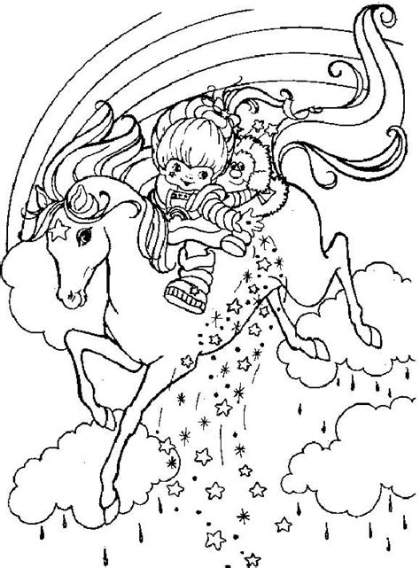 rainbow brite ridding horse coloring pages cartoon