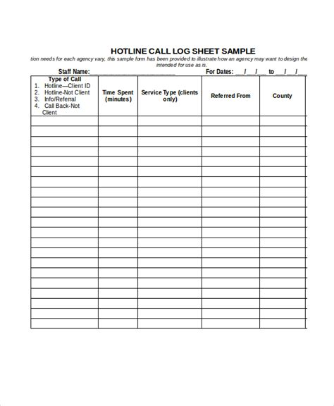 Log Sheet Template by Call Log Sheet Template 11 Free Word Pdf Excel