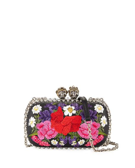 Floral Embroidered Clutch mcqueen king large floral embroidered