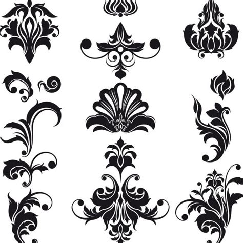 vintage pattern black and white vector 14 vintage flower vector black images black vintage