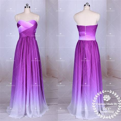 diy hairstyles for strapless dresses ombre purple chiffon prom dressesstrapless ombre by