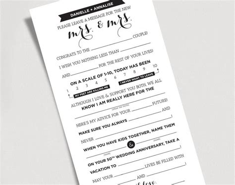 marriage advice card templates wedding mad libs printable template kraft sign mrs and