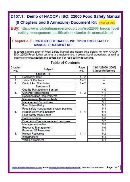 Iso 22000 Manual Document Kit Covers Sle Copy Of Iso 22000 2005 Haccp Manual And Clause Wise Manager Manual Template