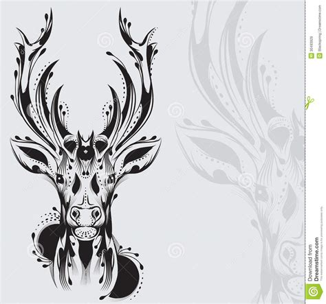 tribal deer head tattoo stock vector illustration of