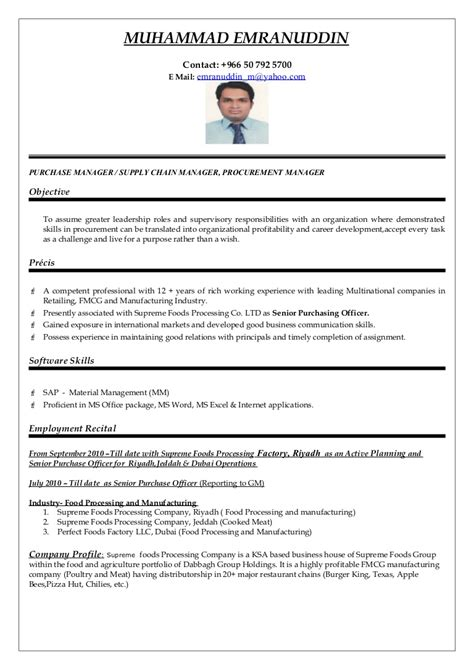 best resume format for purchase executive purchasing manager cv word