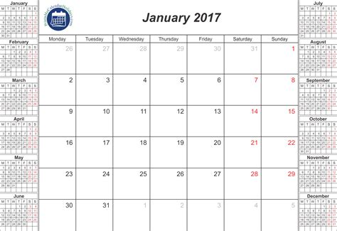 2017 calendar january printable related keywords
