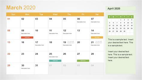 calendar powerpoint march slidemodel