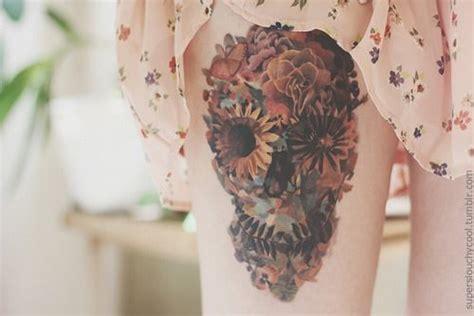 tattoo flower leaf flower sugar skull tattoo flowers leaves butterfly