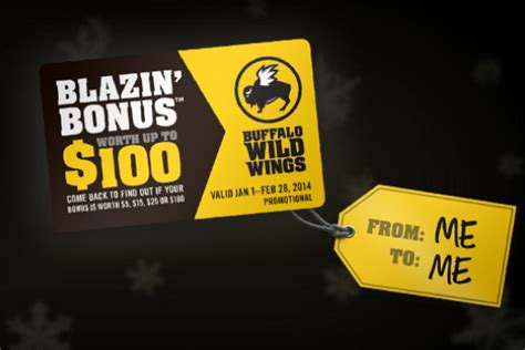 Buffalo Wild Wings Gift Card Promotion - coupons and freebies 4 free buffalo wild wings gift cards 5 100 value mail in