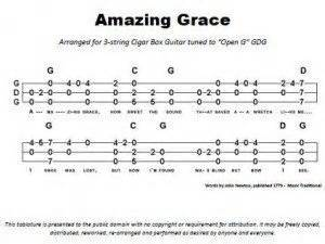 Amazing grace 3 string open g gdg cigar box guitar tablature