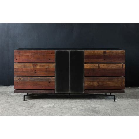 Wood And Metal Dresser don rustic modern reclaimed wood metal dresser kathy kuo home
