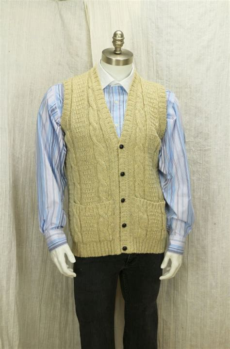 Handmade Vest - cable knit sweater vest handmade button