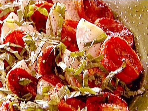 roasted tomatoes ina garten roasted tomato caprese salad recipe ina garten food network