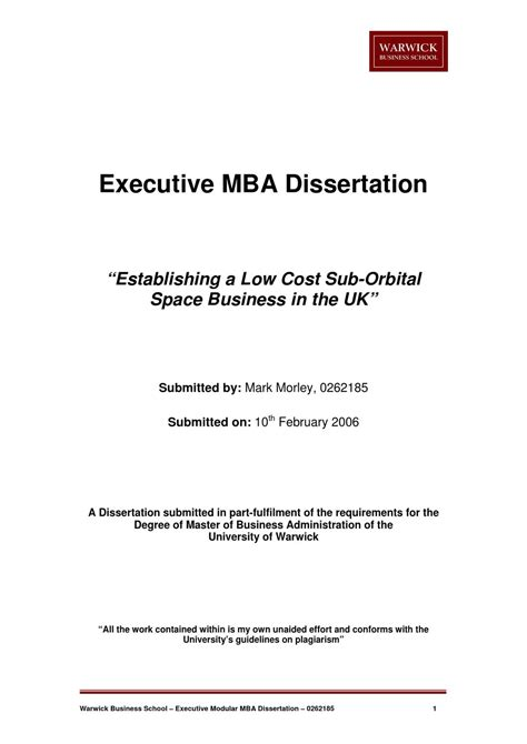Mba Dissertation Guidelines space tourism mba dissertation by morley issuu
