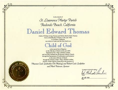catholic baptism certificate template certificate of baptism template images