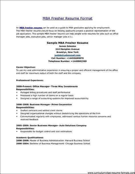 professional resume format for freshers free professional resume format for freshers free sles