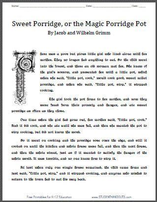 printable version of fairy tales sweet porridge or the magic porridge pot student handouts