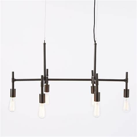 industrial chandelier industrial chandelier rectangle west elm