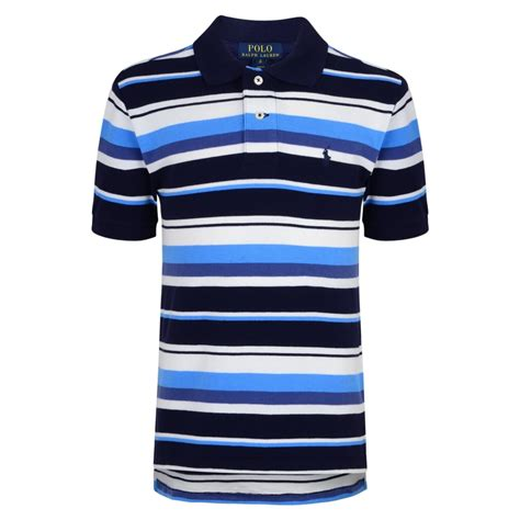 Poloshirt Stripe Navy ralph boys navy polo shirt with blue and white stripe print and logo ralph from