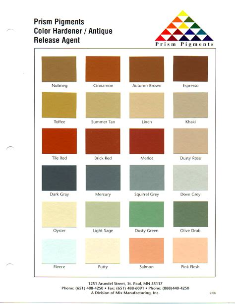 brickform color chart njv decorative concrete supply