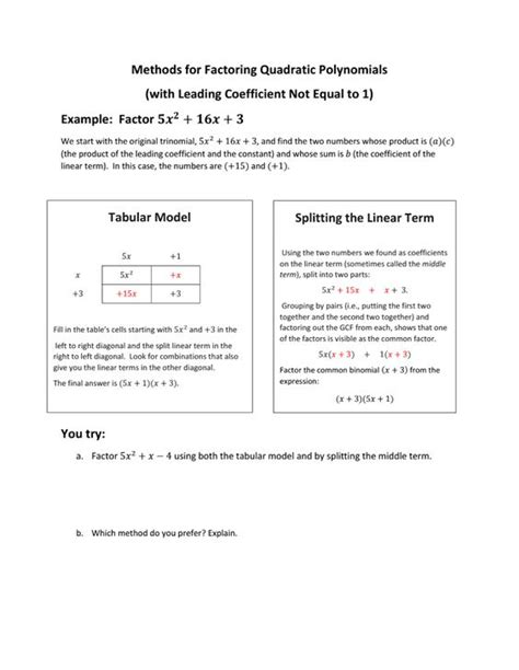Mixed Factoring Review Worksheet by Mixed Review Math Worksheets Answers Word Problems
