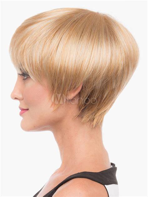 mushroom human hair wigs blonde mushroom human hair women s short wigs in 6 inches