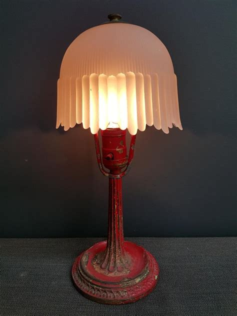 small pink l shade small art nouveau red painted l with glass shade