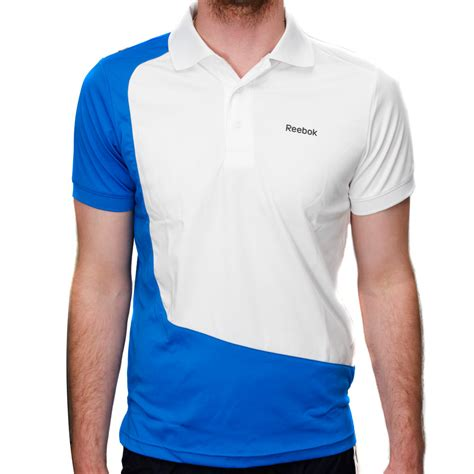 reebok stretch mens polo shirt white