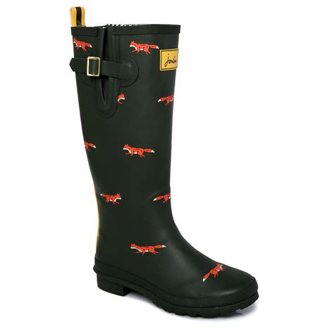 joules boots joules green o welly fox print womens green wellington