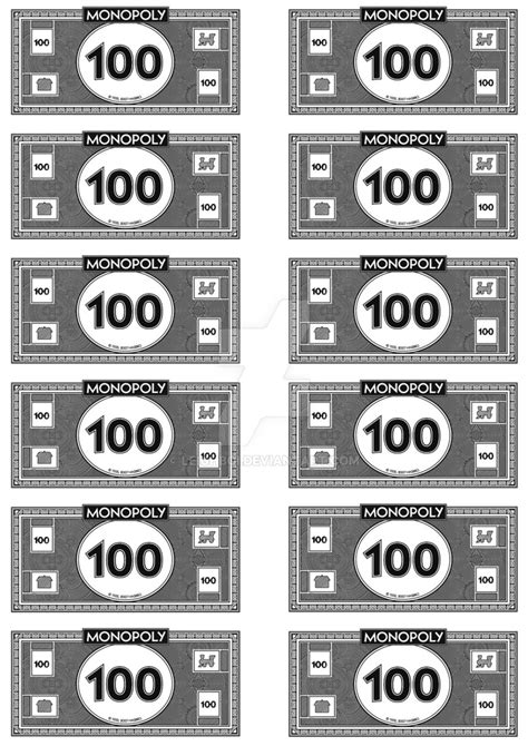 monopoly money template monopoly money 100 s by leighboi on deviantart