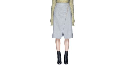 acne panna wrap front flannel pencil skirt in gray lyst