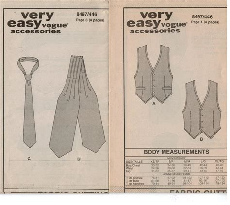 sewing pattern for stock tie vogue pattern 8497 vest ties and ascots for men and women