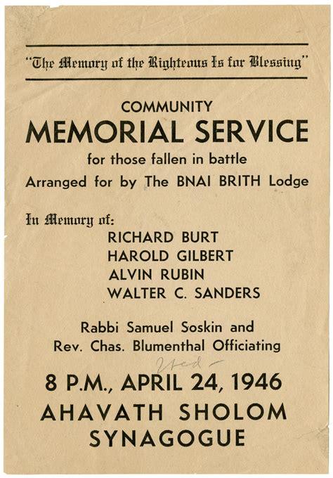 memorial service flyer  portal  texas history