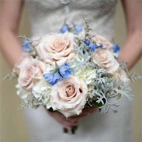 blue pink and white wedding pink and blue bridal bouquet