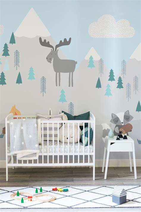 kids mountain scene wallpaper mural muralswallpaper