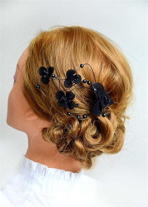 Wedding Hair Accessories Black by Floral Headpiece Bridal Hair Clip Black Headpiece Wedding