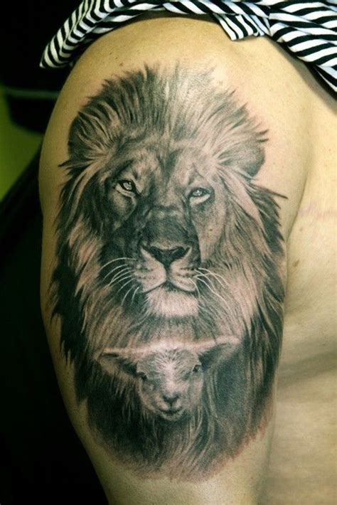 lion and lamb tattoo designs image detail for arm comments black and gray realistic