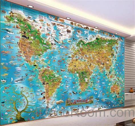 Animal Map Wallpaper Mural Map - 3d animals abstract world map wallpaper wall decals wall