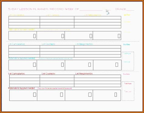 homeschool lesson planner and gradebook 9 lesson plan checklist template sletemplatess