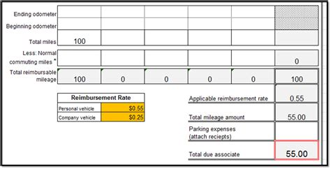 excel spreadsheets help mileage reimbursement form template