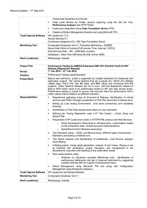 performance test manager resume sle sr performance testing consultant