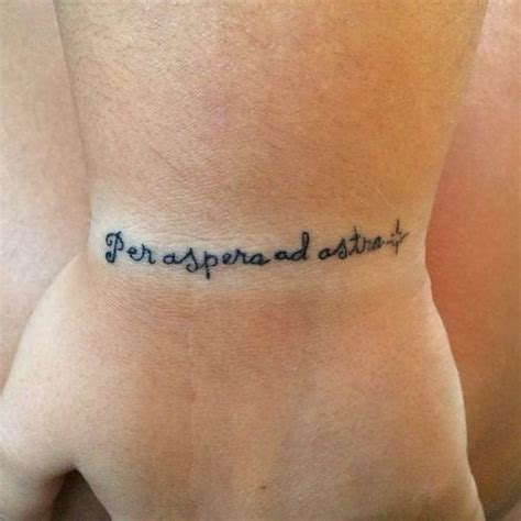 latin wrist tattoos wrist saying per aspera ad astra in