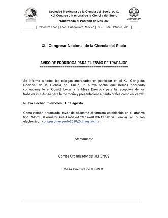 prorroga vencimientos ganancia sociedades 2016 sociedad mexicana de la ciencia del suelo