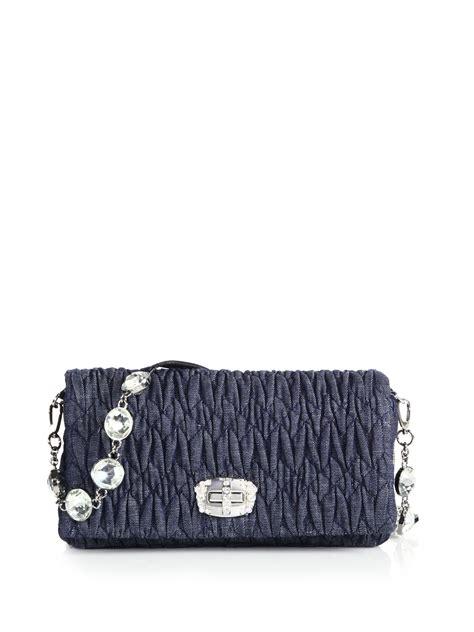 Miu Miu Small Shoulder Bag by Miu Miu Small Denim Matelass 201 Shoulder Bag In Blue