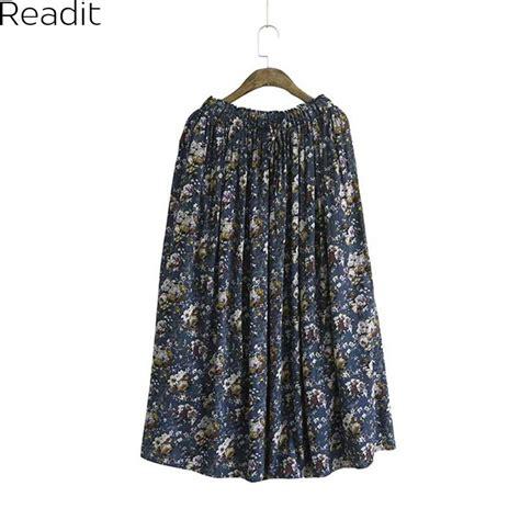 Ma62 Hue Maxy White ᑐviscose floral skirts womens φ φ faldas faldas pleated plus size retro 웃 유 casual casual