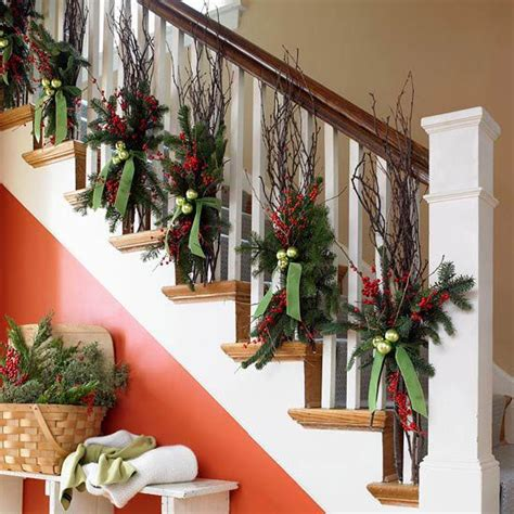 christmas banister garland banister decorations christmas winter pinterest