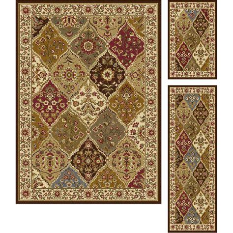 multi rug tayse rugs elegance multi 5 ft x 7 ft 3 rug set 5120 multi 3 pc set the home depot
