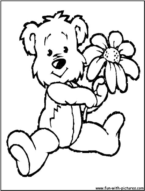 teddy bear with flower coloring page teddy bears picnic coloring pages alltoys for