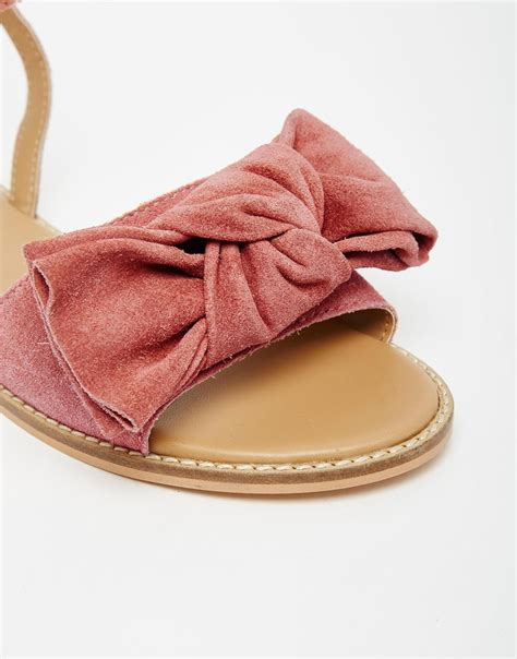 Sandal Bow Pink by Lyst Asos Fully Suede Bow Sandals In Pink