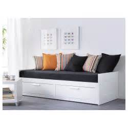 lit banquette ikea blanc avec 3 tiroirs brimnes day bed w 2 drawers 2 mattresses white moshult